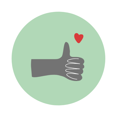 Illustration of a hand giving a thumbs up and a love heart.