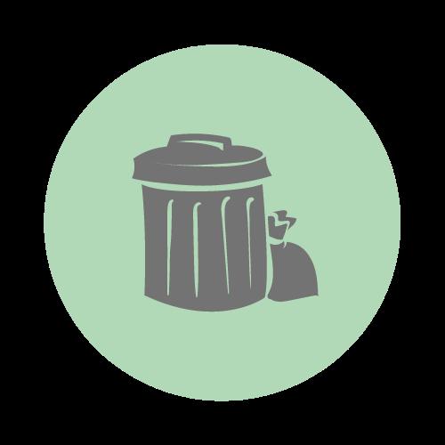 Illustration of a rubbish bin and bin bag.