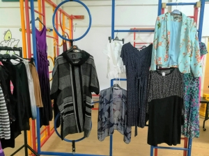 Picture of clothes hanging on a climbing frame in the school hall at Marpool Primary school