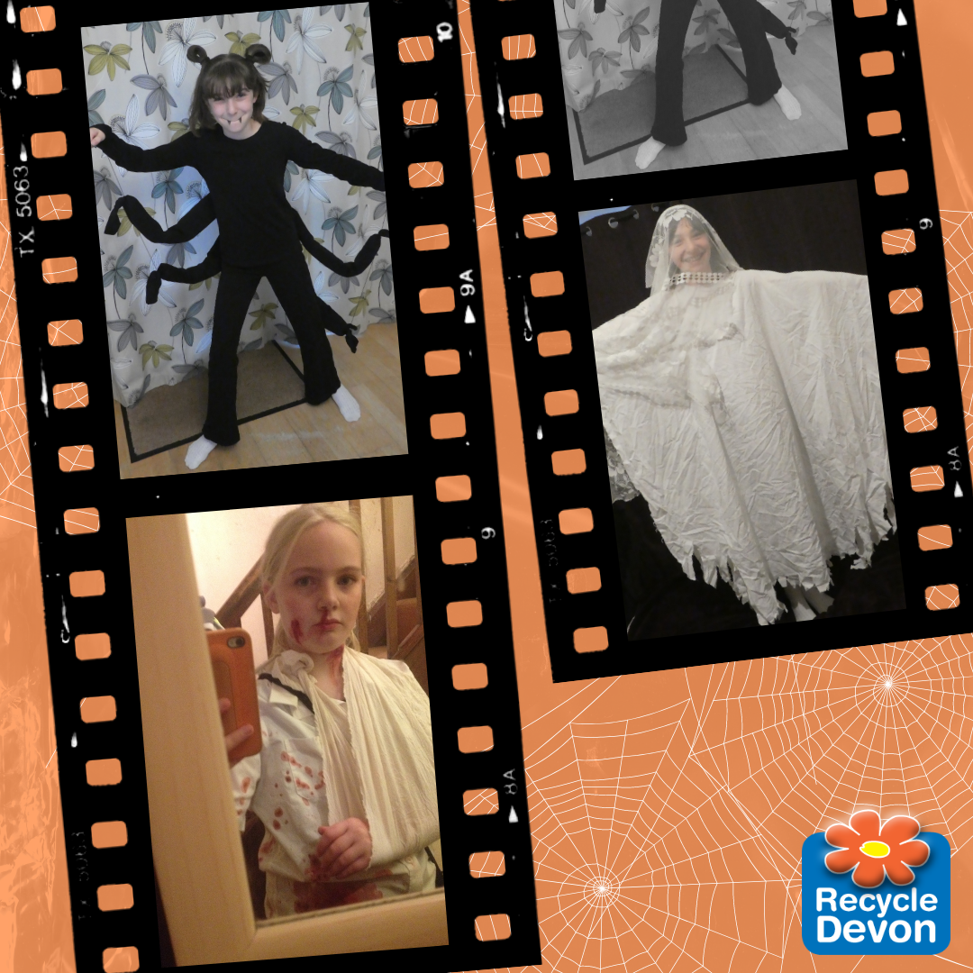 Homemade halloween costumes - a spider, a zombie, and a ghost