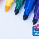 Graphic with coloured felt tip pens and the recycle devon logo