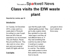 Part of school newspaper, Sparkwell News,Class Visits the EfW waste plant
