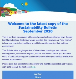 Screenshot of the Sustainability Bulletin September 2020