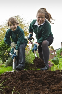 Smiling boy and girl shoveling compost in a school garden