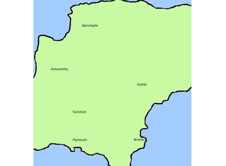 Simple devon map showing towns