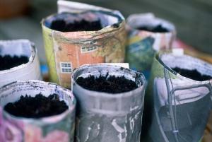 Newspaper flower pots
