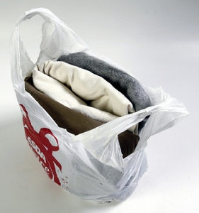 Picture of plastic bag with some clothes folded inside