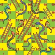 Screenshot of snakes and ladders game