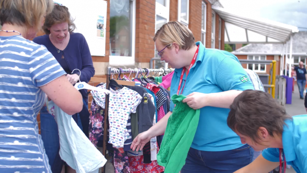 Members of the waste team at a clothes swish at St Peters Primary School in Budleigh Salterton