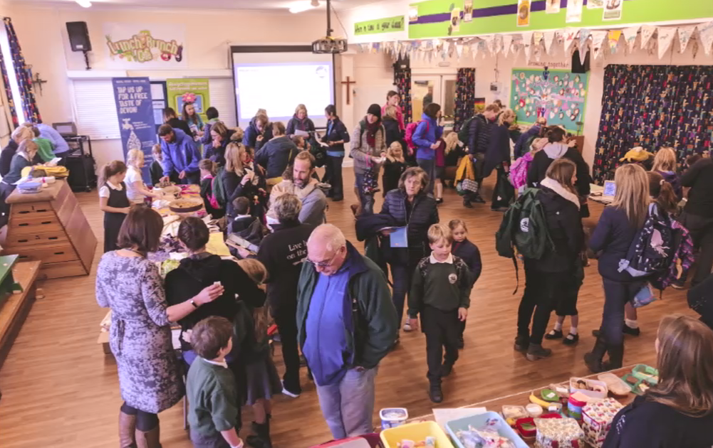 Photo of a crowd of people at St Peter's Budleigh school engagement eco-day.