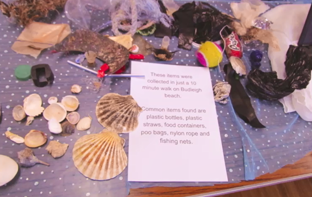 A collection of objects found on a 10 minute walk at Budleigh nbeach including scallop shells and lots of plastic pollution, including plastic packaging and fishing gear