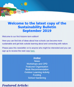 Screenshot of Sustainability bulletin from Sept 2019