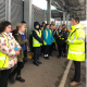 Waste Educator Sally with a school group on a tour of Pinbrook Recycling Centre